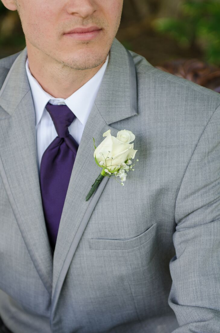 White Rose Boutonniere with Gray Tuxedo
