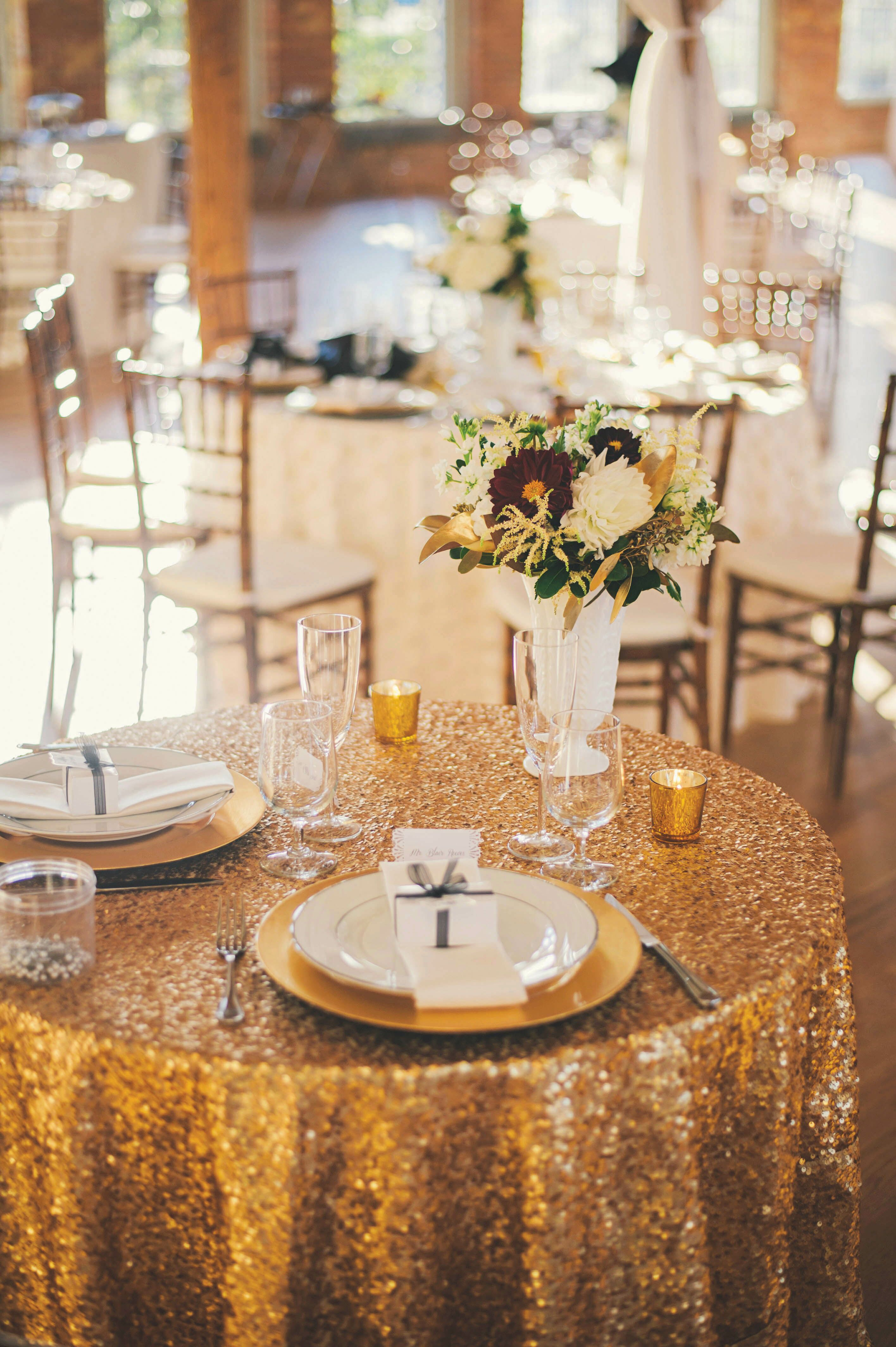 Gold Sequined Linen Sweetheart Table Decor