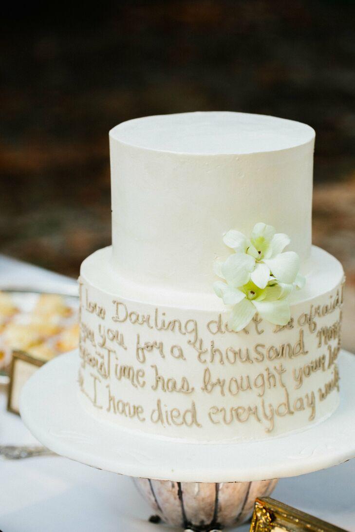 White Cake With Song Lyrics