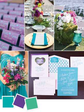 Beach wedding color scheme with teal, purple and green