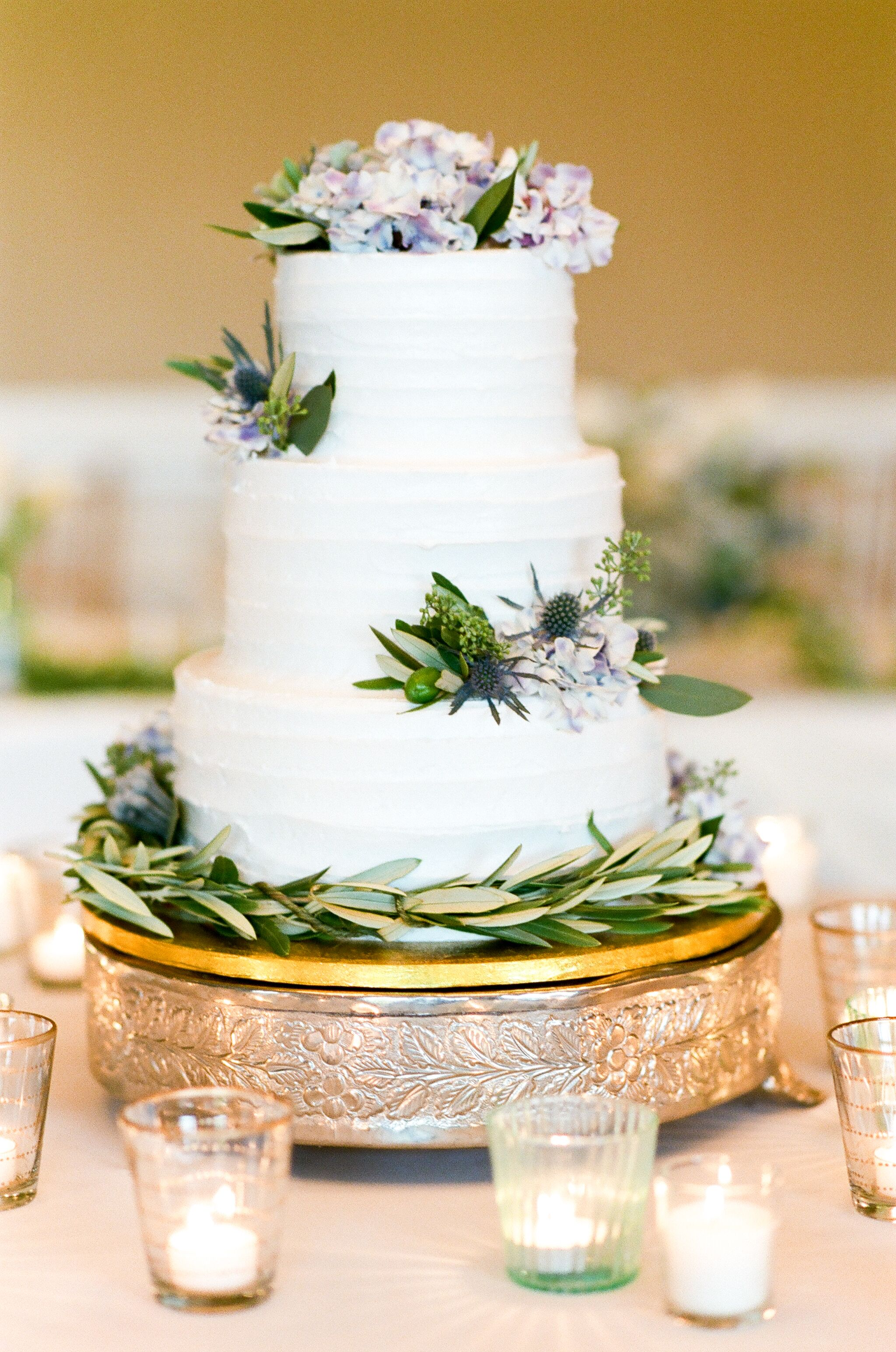Three Tier Combed Buttercream Wedding Cake