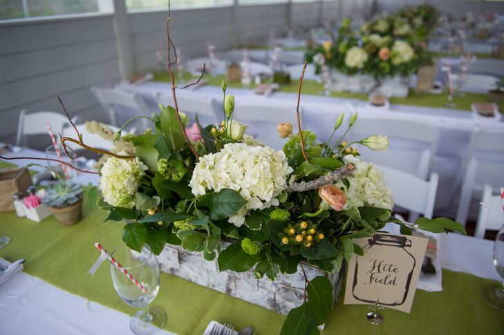 Spring curly willow and hydrangea centerpieces