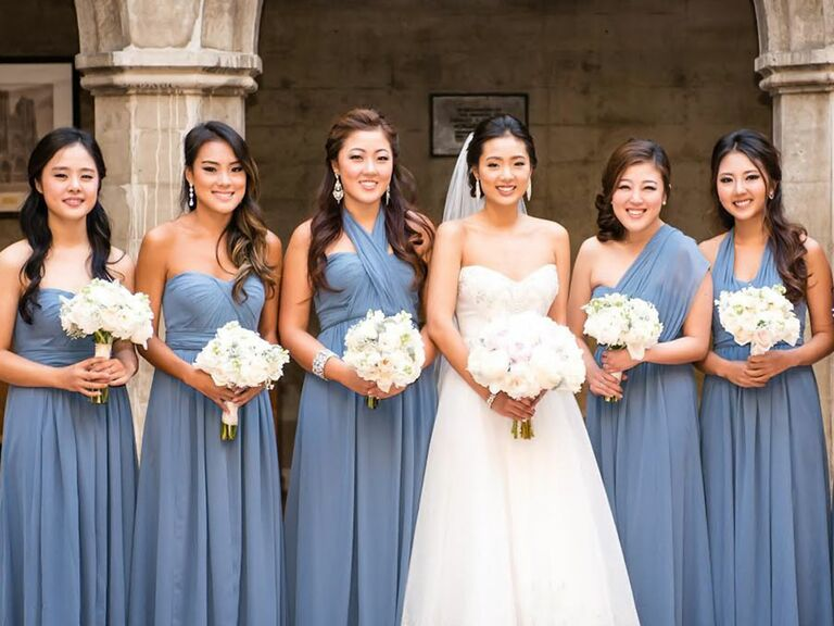 The Knot Vow To Be Chic Bridesmaids Dresses In Dusty Blue Real Wedding