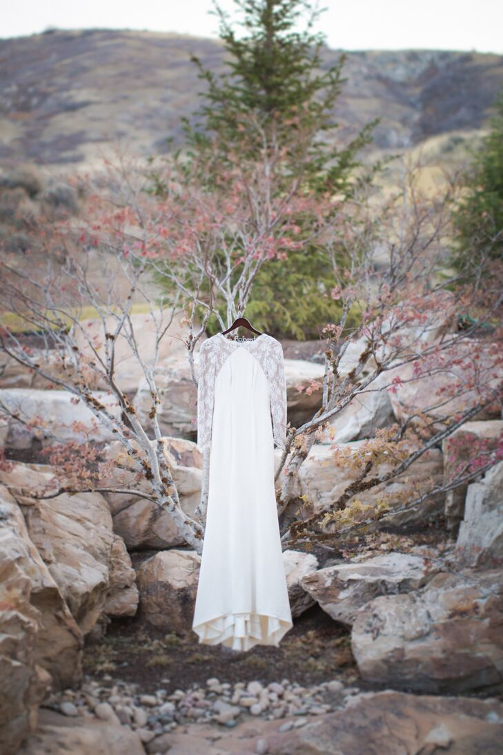 Fitted Sheer Long-Sleeve Wedding Dress