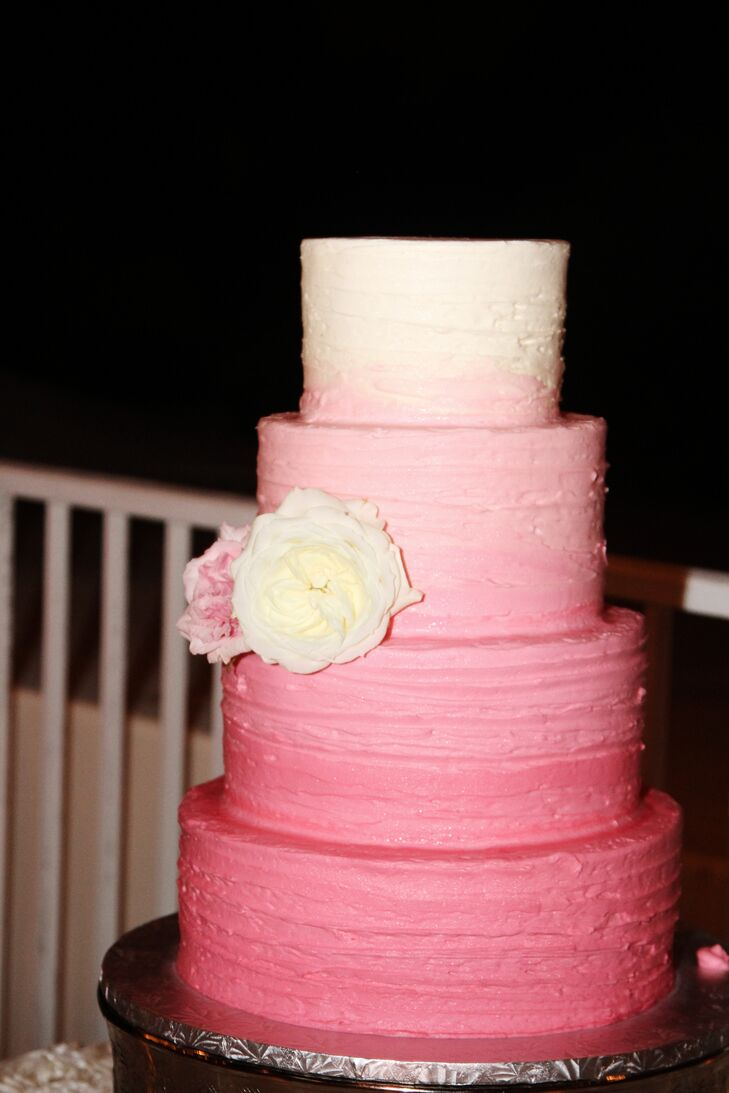 Pink Ombre Four-Tier Wedding Cake