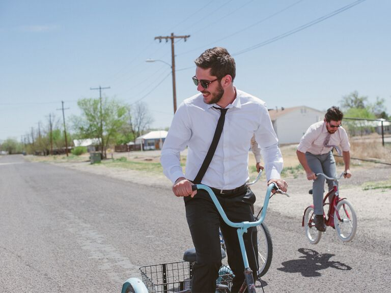 Best man biking before wedding