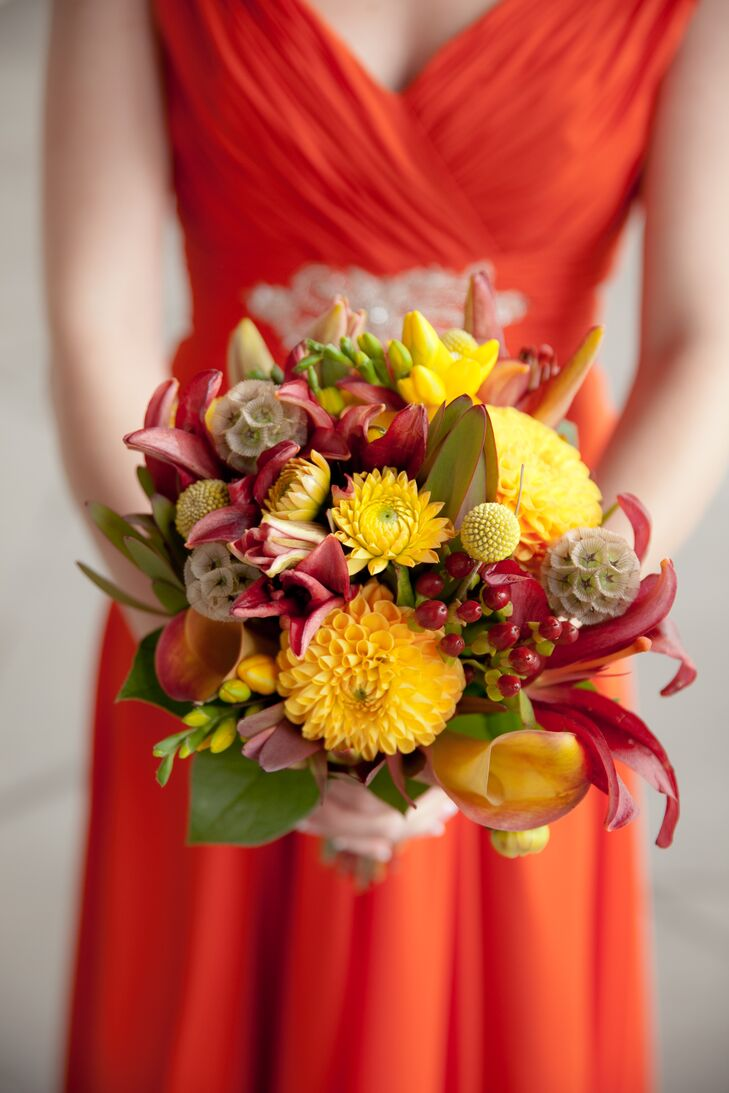 Yellow Dahlia, Craspedia and Scabiosa Bridesmaid Bouquet