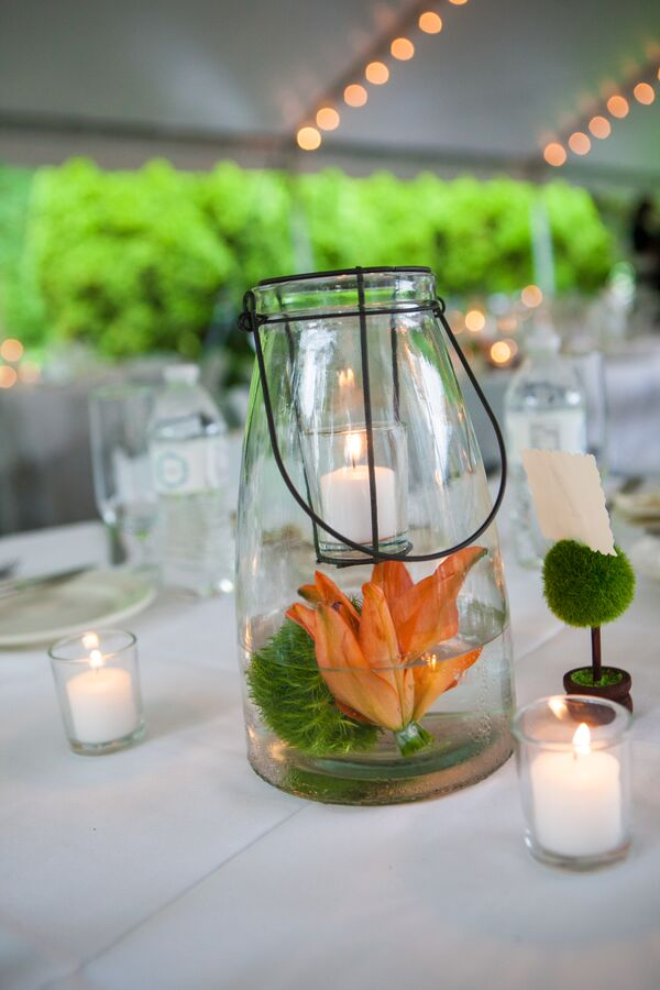 Lantern Centerpieces with Candles, Lilies and Dianthus Balls