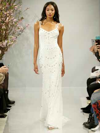Theia Spring 2018 ivory slip wedding dress hand embroidered with pearls and Swarovski crystals