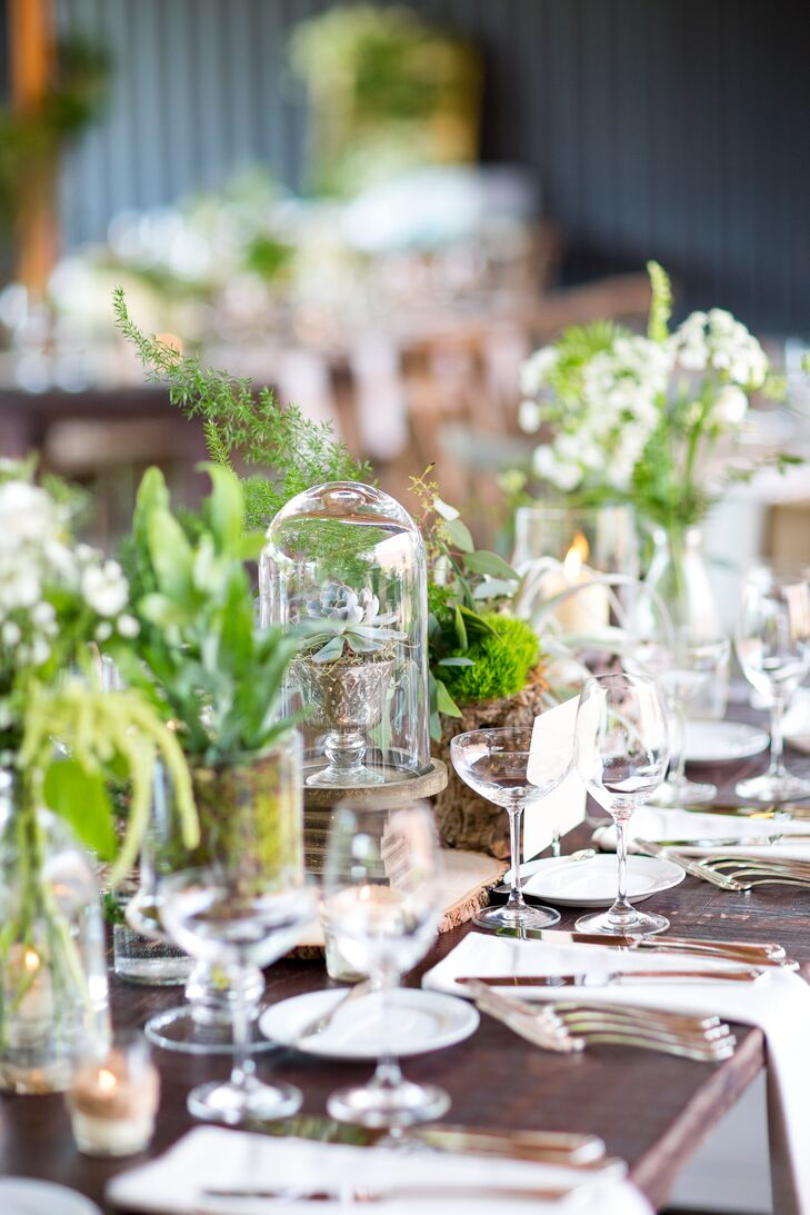 eclectic natural greenery and wooden centerpieces