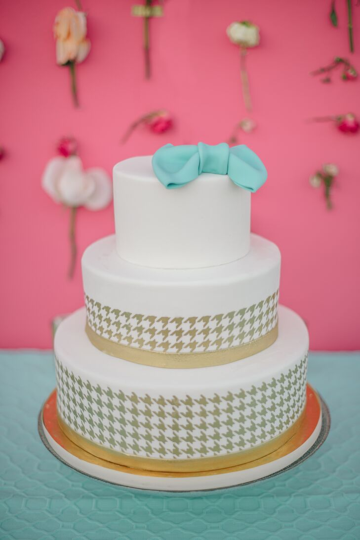Ivory, Gold and Turquoise Wedding Cake