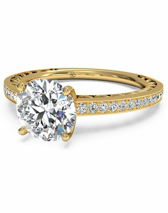 Ritani Round Cut Lattice Micropave Diamond Band Engagement Ring in 18kt Yellow Gold (0.11 CTW) Engagement Ring photo