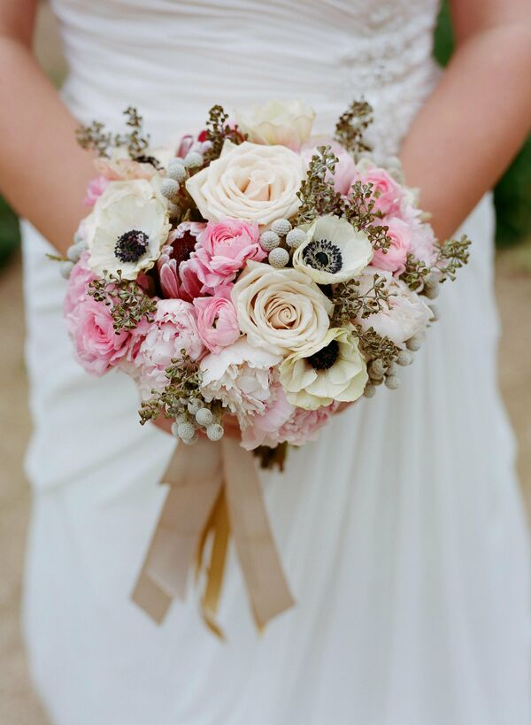 Blush Anemone and Rose Bouquet