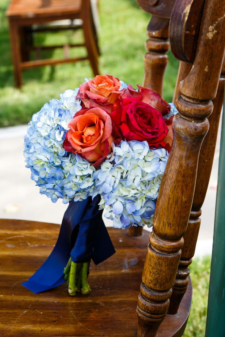 Red Rose and Blue Hydrangea Bouquet