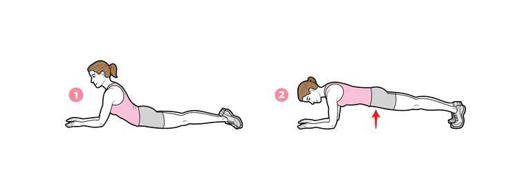 Plank pose abs exercise for fit-and-flare wedding dress