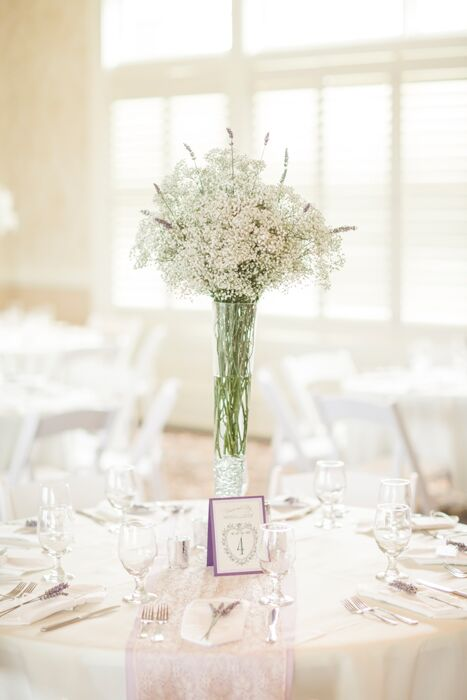 Tall Baby S Breath And Lavender Centerpieces