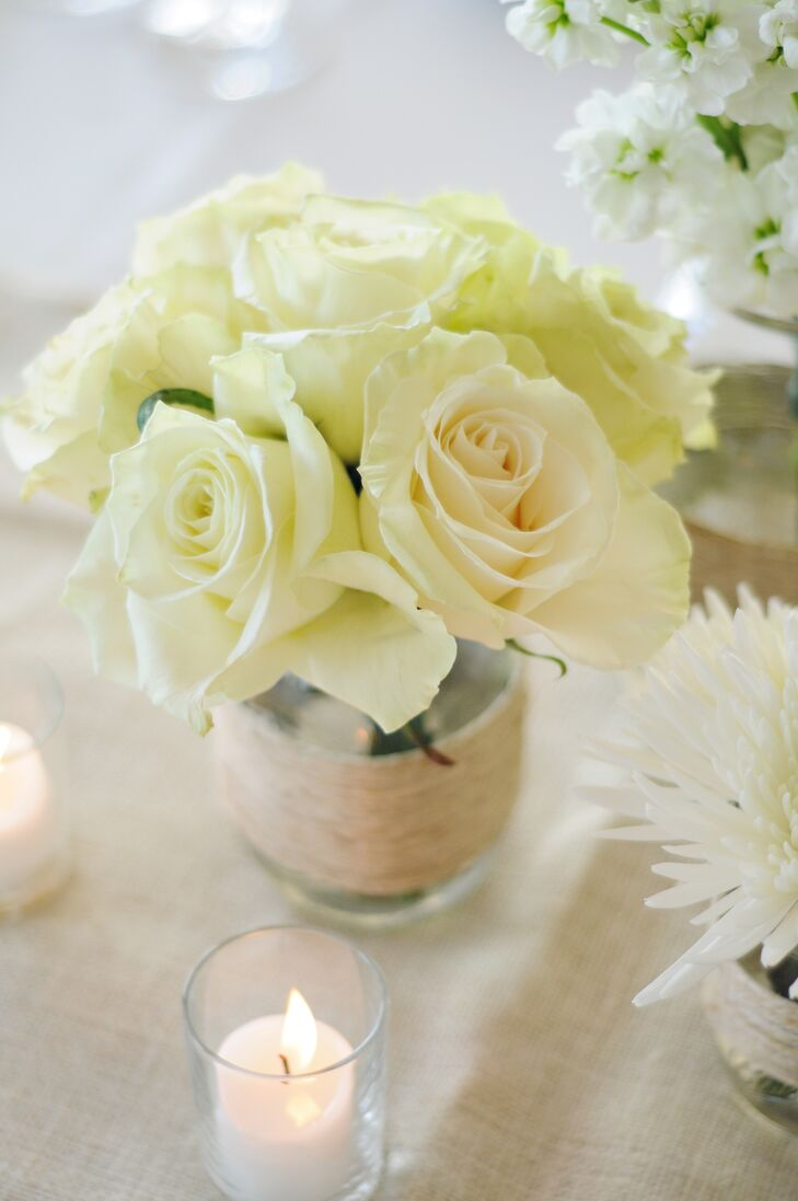 White Rose Mason Jar Centerpiece : Rose and mason jar centerpieces