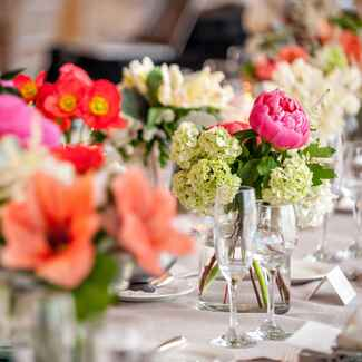 Bright floral centerpieces