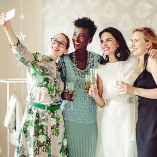 Friends taking a selfie at a bridal shower