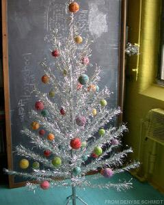 quilter denyse schmidt decorates her silver tree with scrap fabric covered ornaments - Designer Christmas Tree