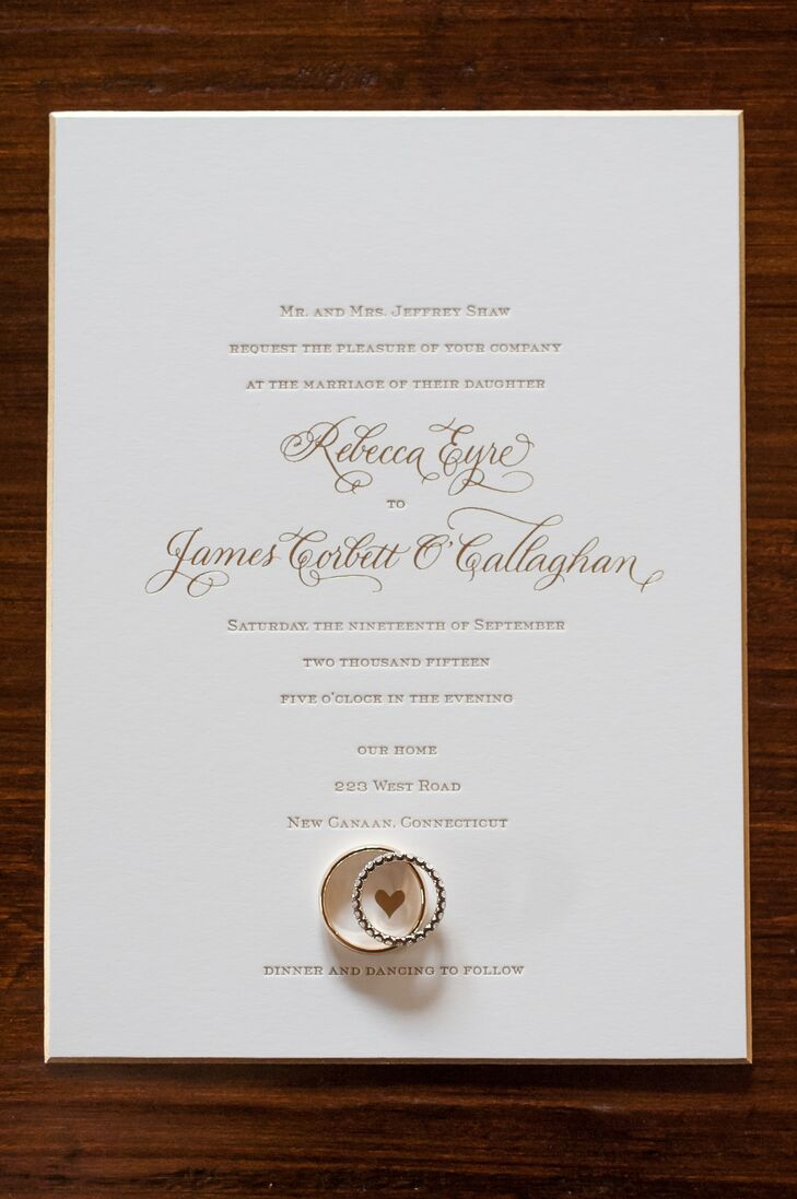 To set the tone for the elegant affair in New Canaan, Connecticut, Rebecca and James had the designers at Sugar Paper create custom, classic invitations with gold script and ivory card stock with champagne trim. Letterpress detailing played up the stationery's formal feel, while a heart motif and curly calligraphy added a subtle note of whimsy.