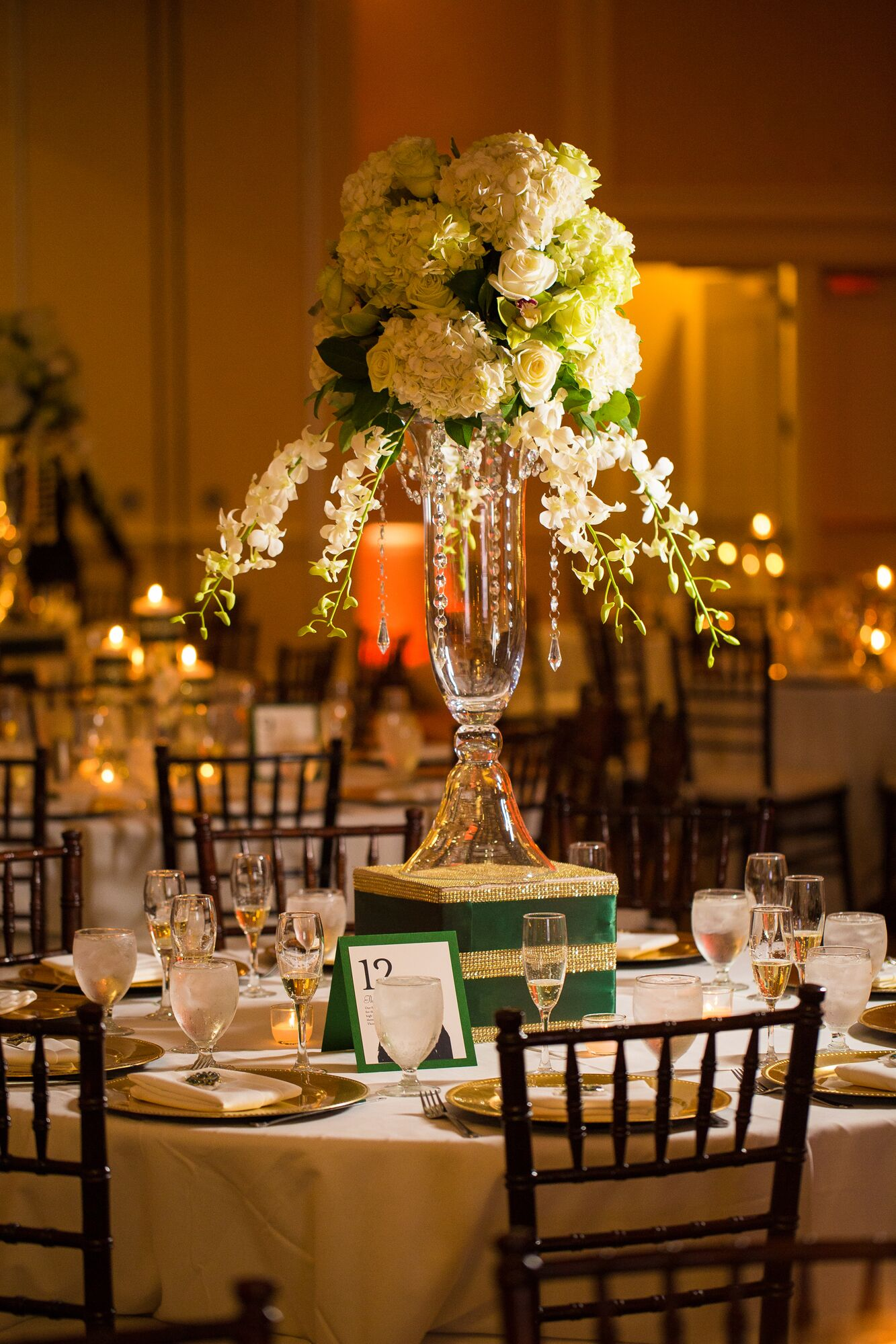 Elaborate Ivory And Emerald Centerpiece