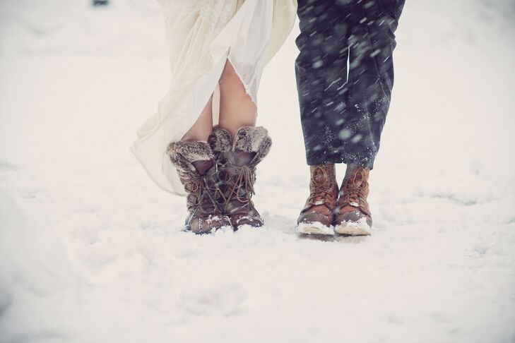 Bride And Groom Winter Wedding Boots