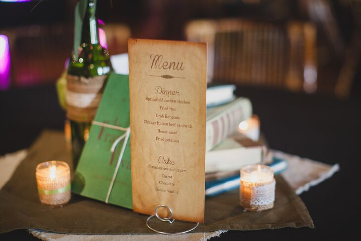 Keeping with the literary theme, the menu cards were inspired by old book pages.