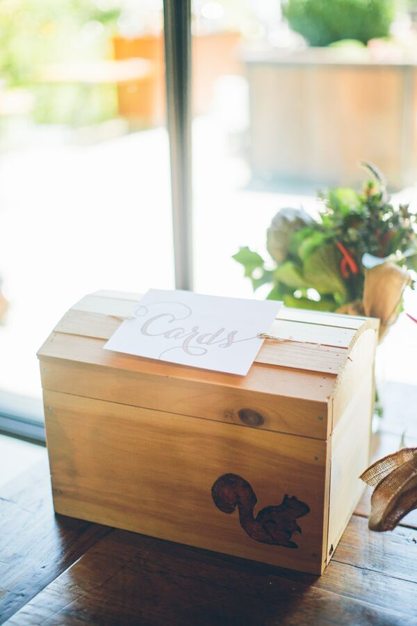 Natural Wood Card Box with Squirrel Motif
