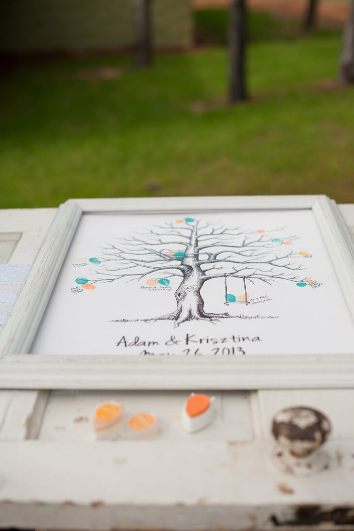 Painted Family Tree Guest Book Alternative
