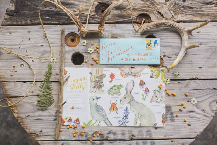 The front of Kelly and Canaan's custom gatefold invitation had the event information along with whimsical watercolor illustrations of local wildlife, while the back included a hand-painted map of Golden.