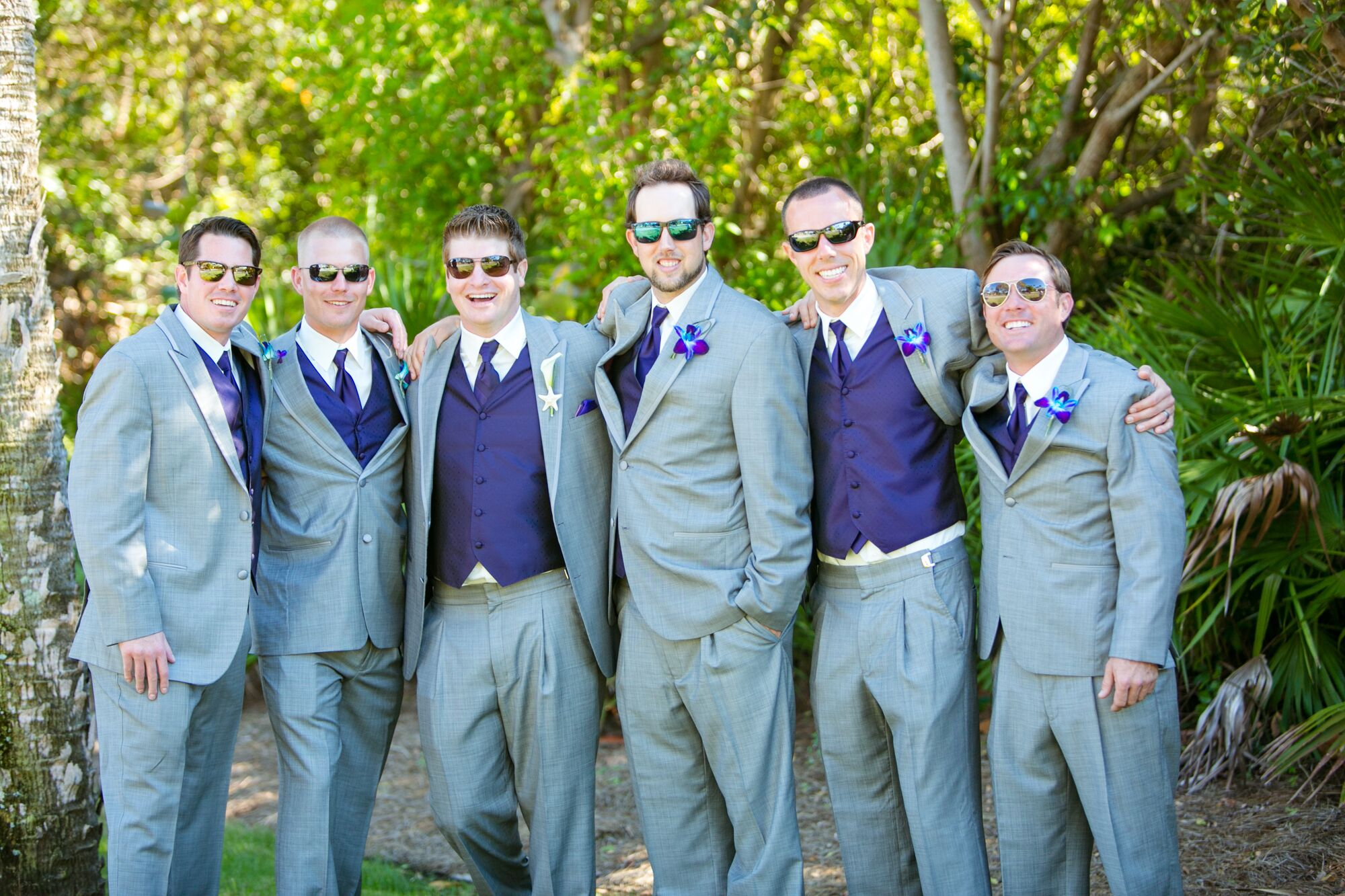 Purple and Light Gray Groomsmen Suits