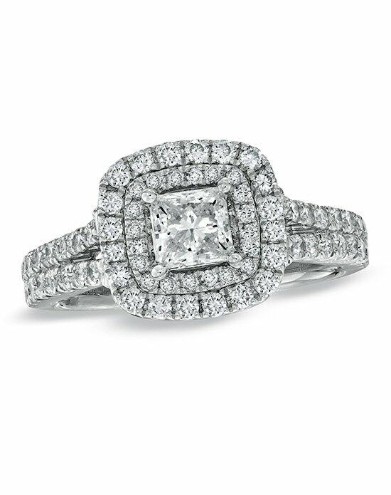 Vera Wang LOVE at Zales Vera Wang LOVE Collection 1-1/2 CT. T.W. Princess-Cut Diamond Frame Split Shank Engagement Ring in 14K White Gold  18630442 Engagement Ring photo