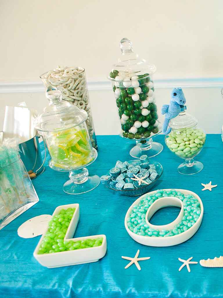 Beach-themed wedding reception candy bar