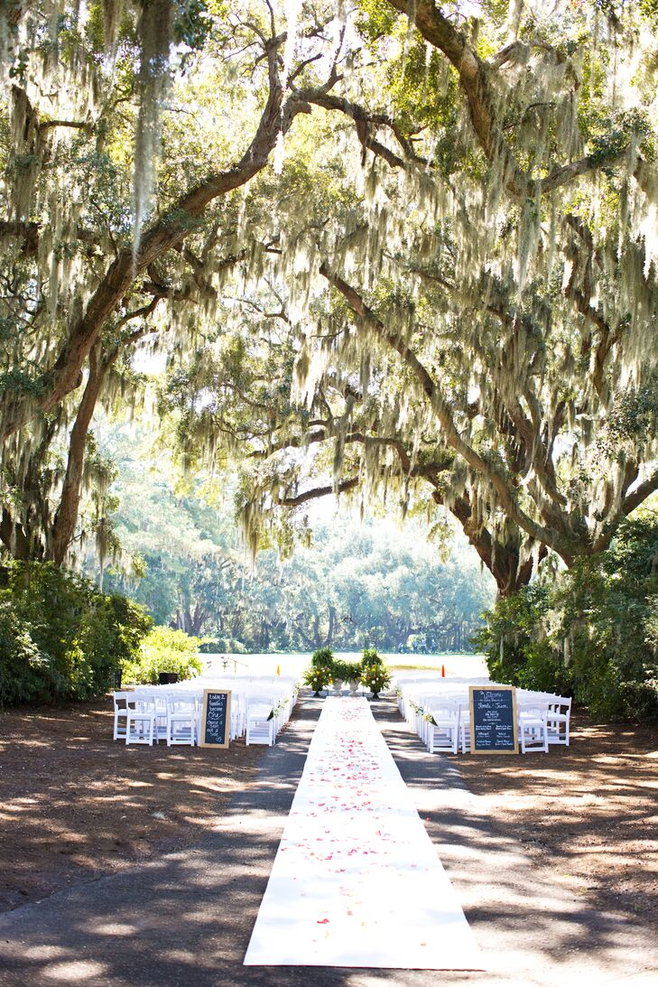 "The ceremony took place in a space that Caledonia calls Azalea Row under a ""hallway"" of live oak trees with Spanish moss hanging down."