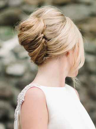 French twist updo hairstyle for brides or bridesmaids
