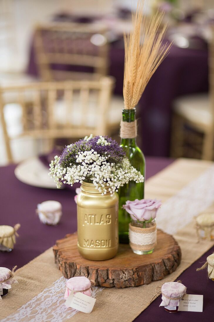 Rustic gold mason jar and wood slab centerpieces