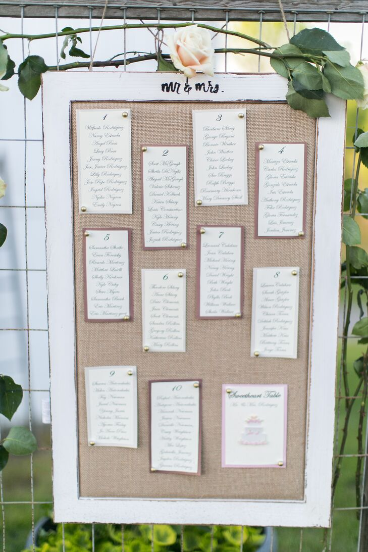 Seating Chart on Burlap-Accented Frame