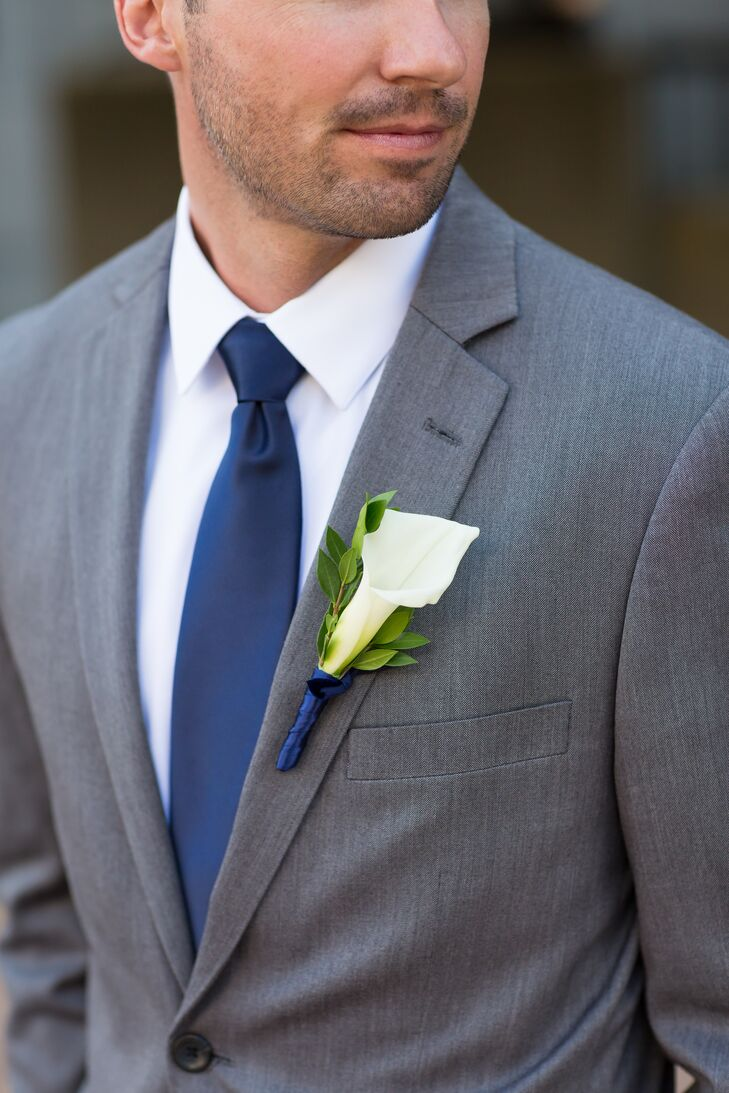 James S Navy Tie And Calla Lily Boutonniere