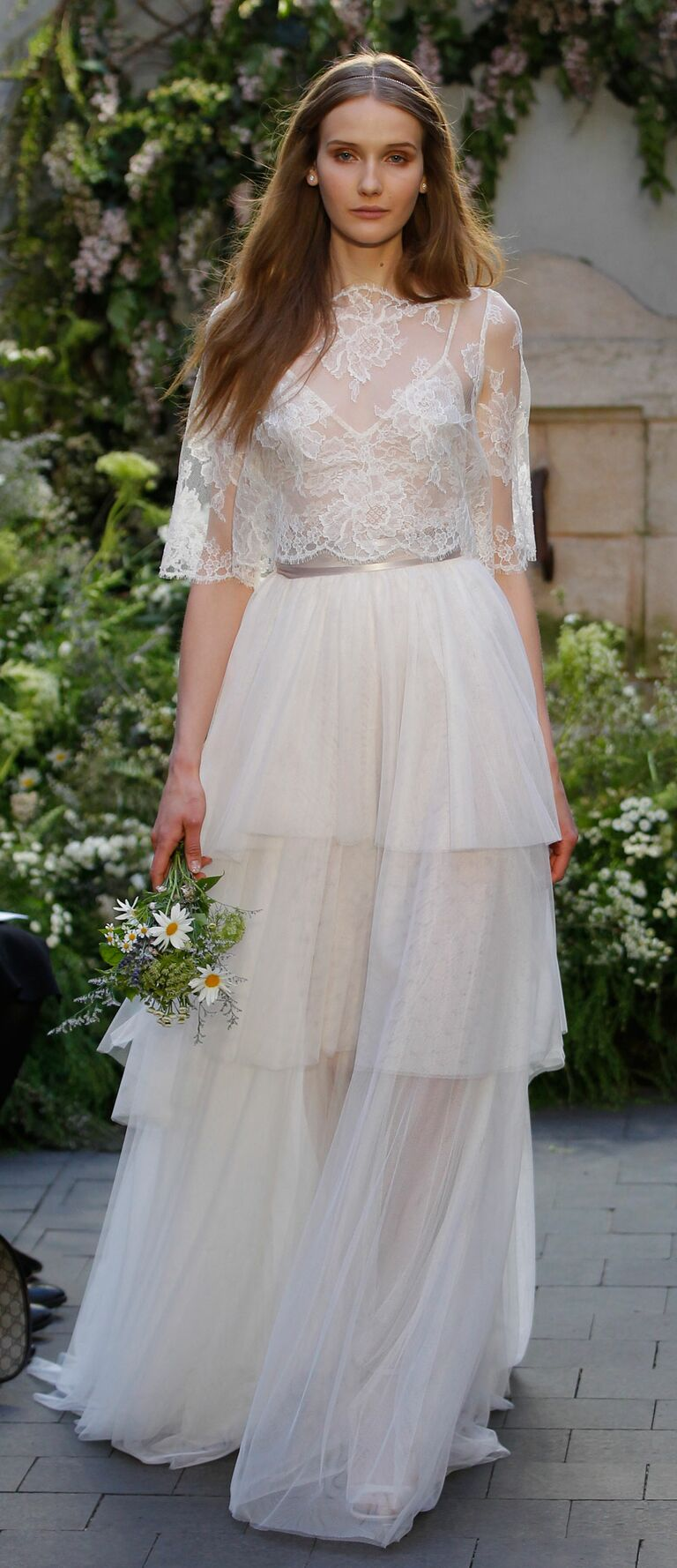 Monique lhuillier spring 2017 collection bridal fashion week photos monique lhuillier spring 2017 wedding dress with chantilly lace camisole and blush tulle tiered ombrellifo Image collections