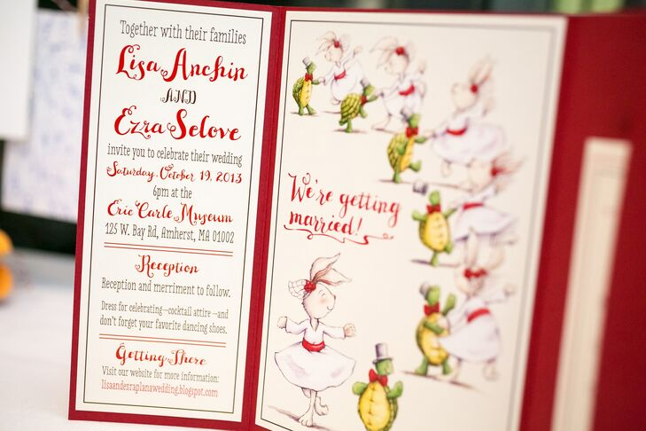 "Lisa also designed the invitation suite for the wedding. ""Neither Ezra nor I are particularly serious; we're fairly silly people and our invitations reflected that,"" Lisa says. ""I designed the save-the-date card without much thought toward the invitations. Ezra's favorite animal is a turtle and I am partial to bunnies, so I used that as inspiration for the card. When it came time to design the invitations, it seemed right to continue using the turtle and bunny."""