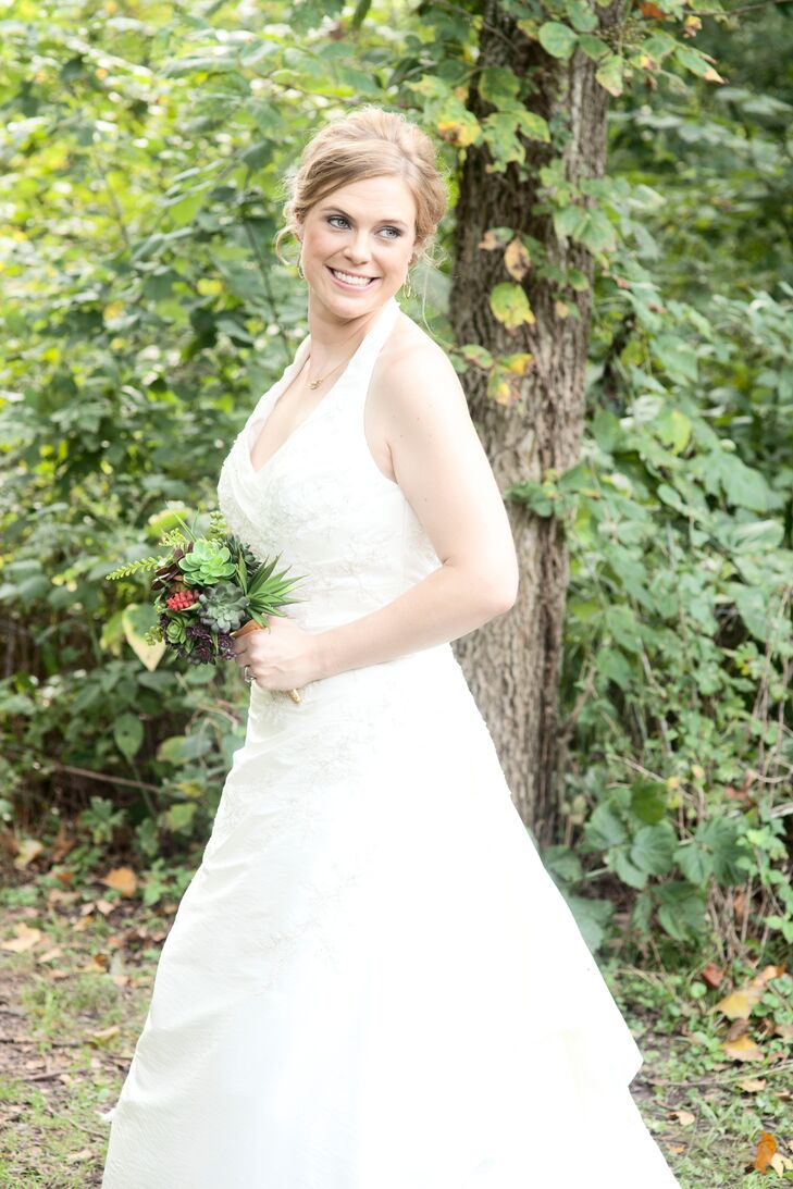 Casablanca A-Line, Halter Wedding Dress