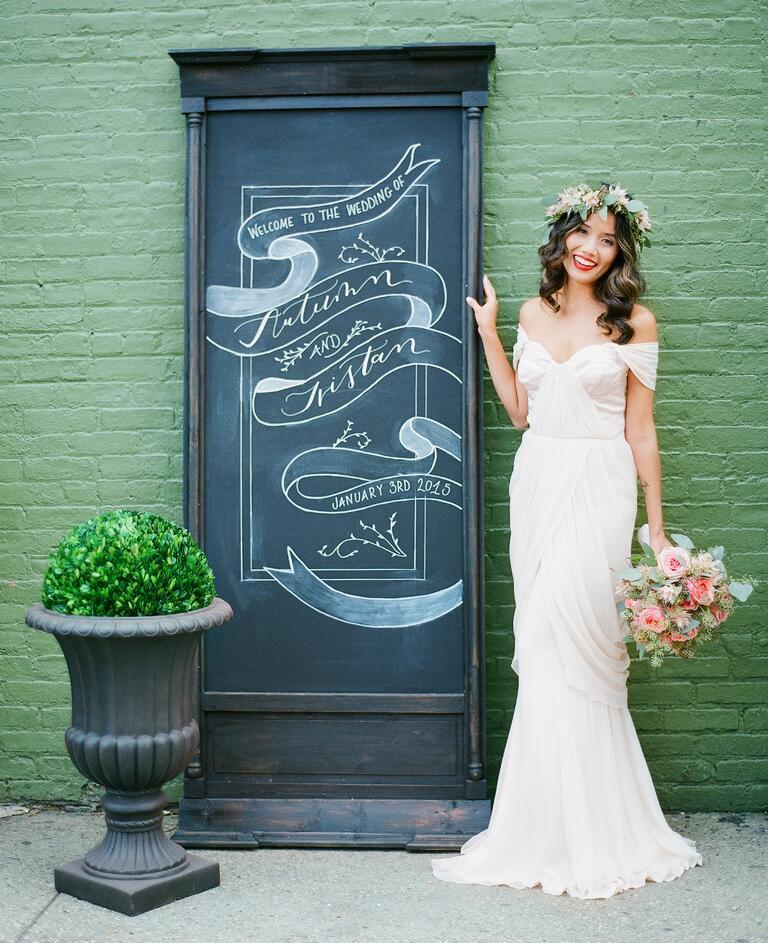 Chalkboard wedding sign with calligraphy