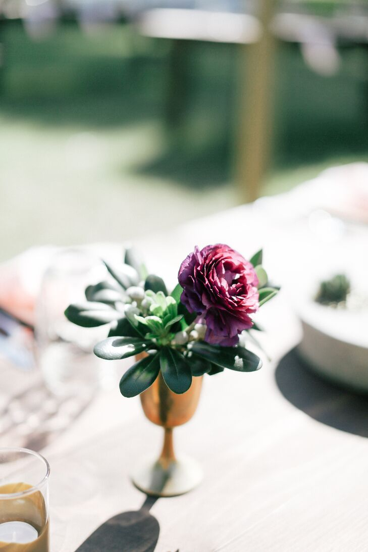 Green Succulent, Purple Ranunculus Wedding Reception Centerpiece