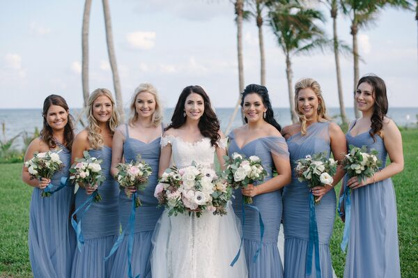 Wedding Party in Pale Blue Chiffon Bridesmaid Dresses
