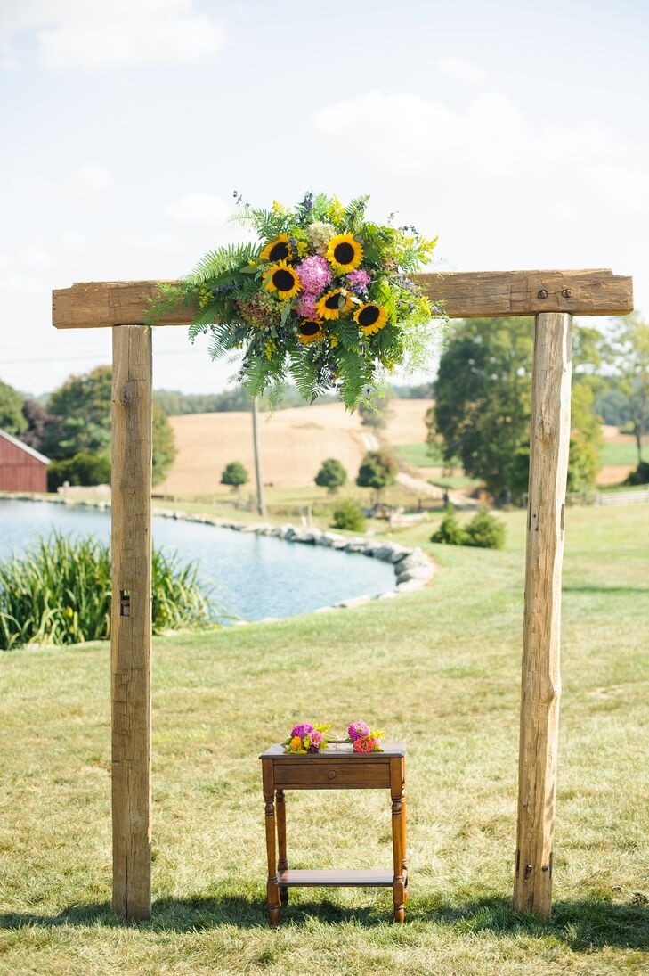 Wooden Wedding Arch With Sunflowers Pink Hydrangeas And