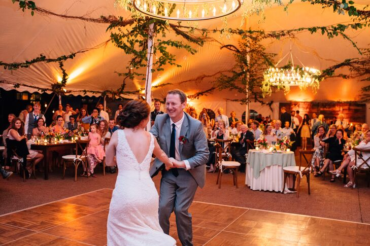 "Olivia and Ben enlisted the help of the band Groovin' You to get guests out of their seats and onto the dance floor. For the first dance, the band played a lively rendition of Otis Redding's ""Knock on Wood"" to kick the festivities into high gear."