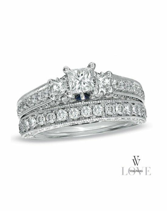 Vera Wang LOVE at Zales Vera Wang LOVE Collection 2-3/4 CT. T.W. Princess-Cut Diamond Three Stone Bridal Set in 14K White Gold  18670042 Engagement Ring photo