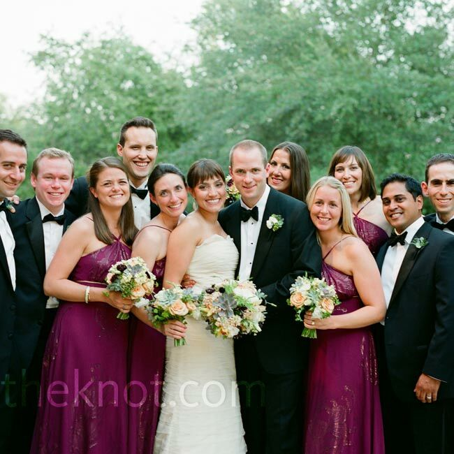 Floor Length Berry Colored Silk Bridesmaid Dresses Coordinated Nicely With The Groomsmen S Black Tu