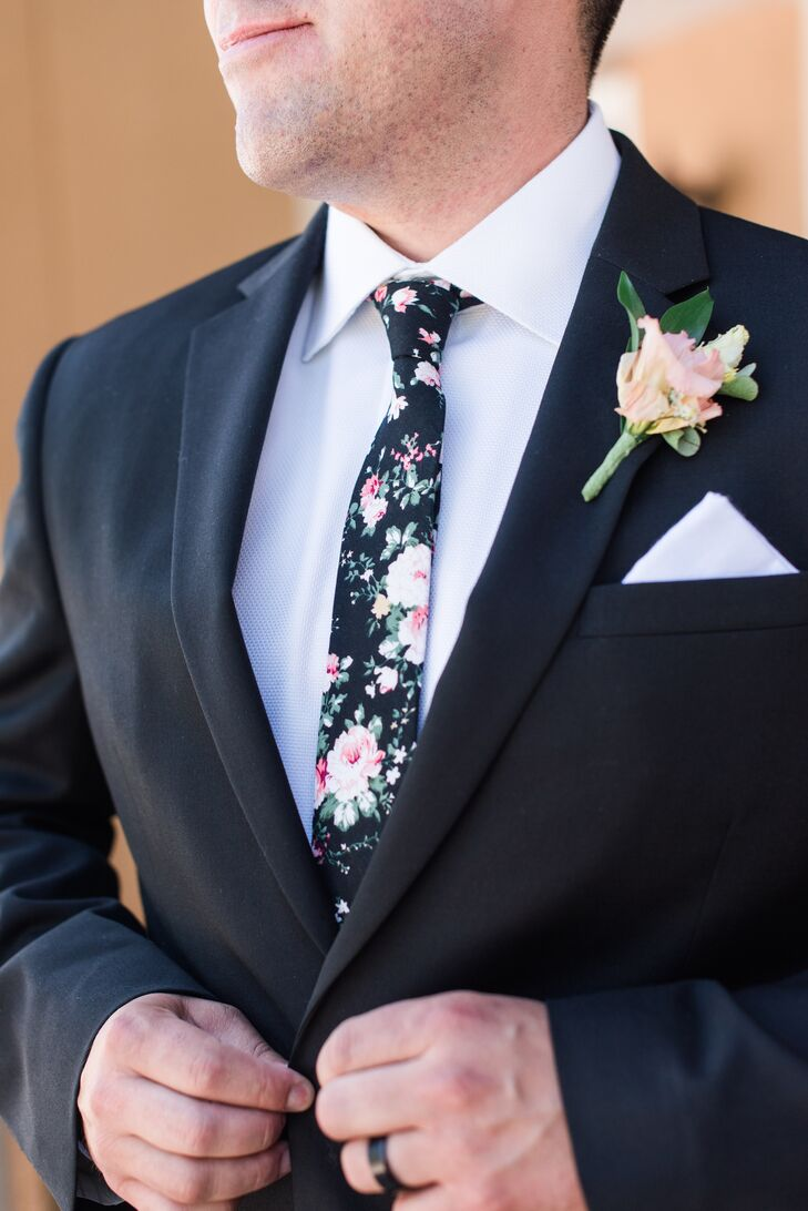 Black Skinny Tie with Pink Rose Print